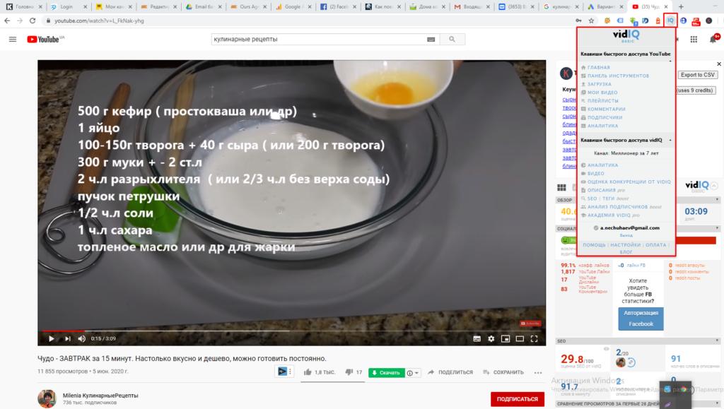 Мониторинг видео на Youtube от vidIQ